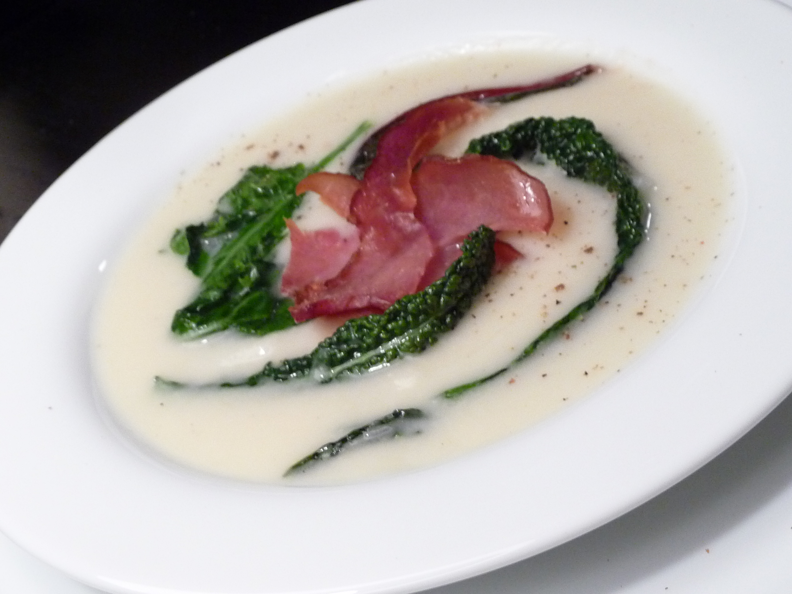Turnip Ginger Soup with Greens & Ham | Amy Glaze's Pommes d'Amour