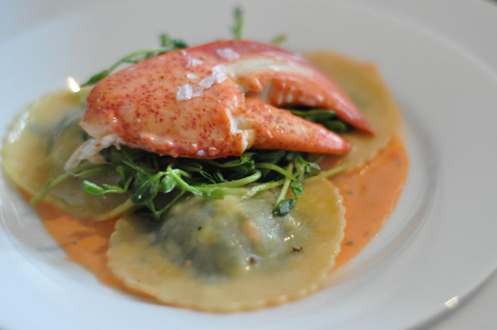 Lobster Ravioli, Pea Shoots, & Smoked Paprika Sauce | Amy Glaze's Pommes D'Amour