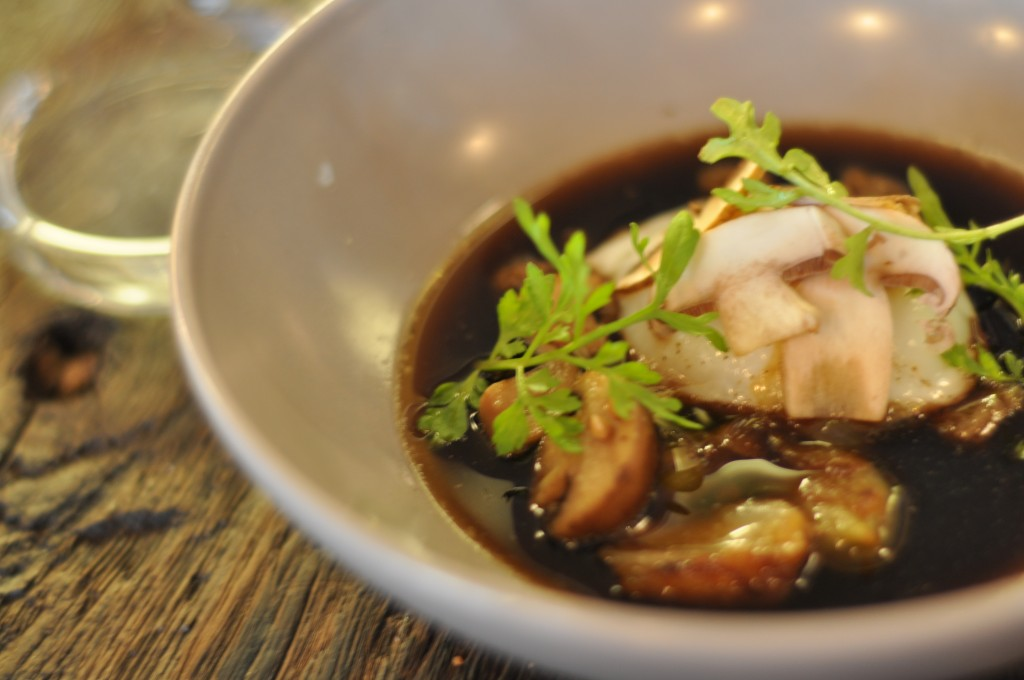shitake broth with poached egg