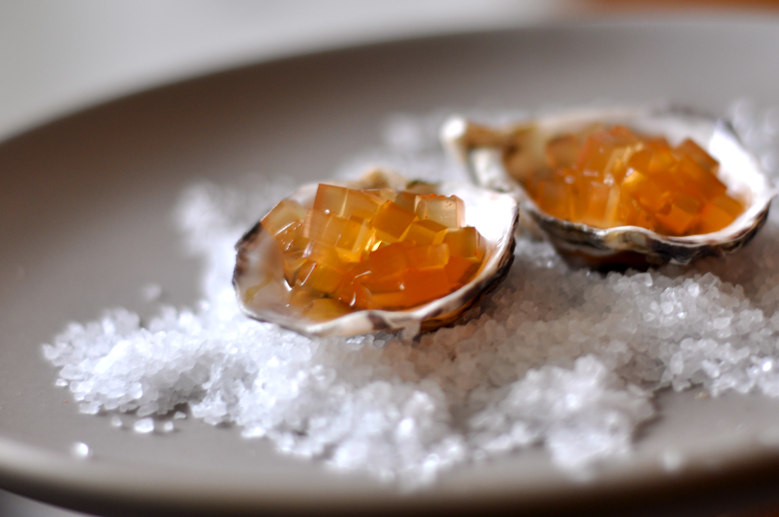 Oysters With Fire Water Gel 233 E Amy Glaze S Pommes D Amour