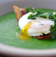 Nettle & Green Garlic Soup on Grilled Bread with Olive Oil Poached Farm Egg & Bacon