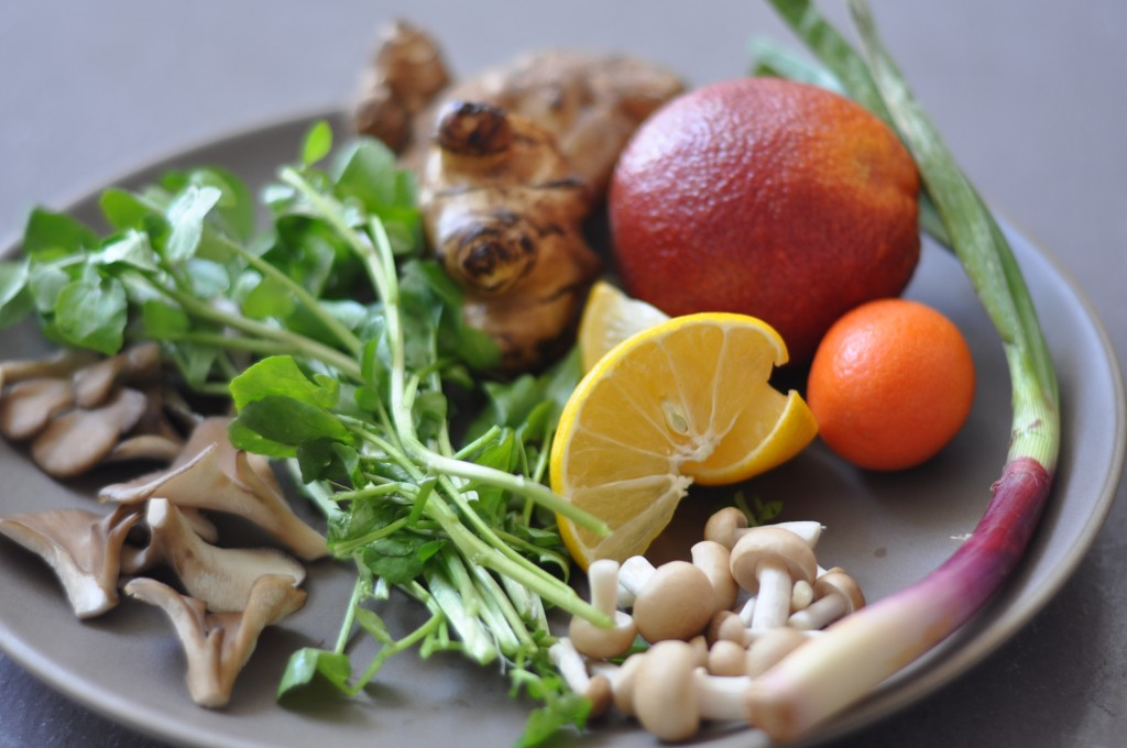 Watercress, sunchokes, morro blood oranged, persian limes, hon-shemeji mushrooms, mitake mushrooms, red spring onion