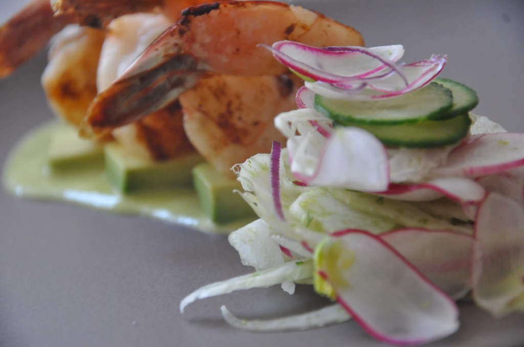 shaved fennel, radish, and persian cucumber salad with red onion