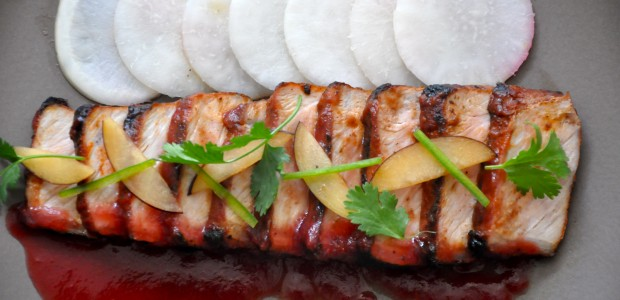 BBQ Pork Loin & Spicy Fresh Plum Sauce