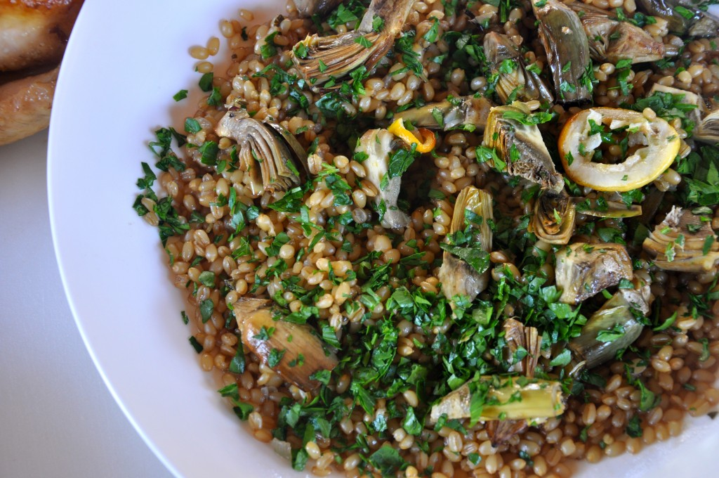 Woodfire Roasted Artichokes with Wheatberry Pilaf