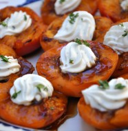 Grilled apricots with herbed goat cheese