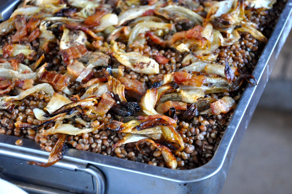 Wheat Berries and Roasted Onions and Fennel
