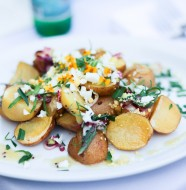 Smoked Potato Salad with Chopped Hard Cooked Farm Egg, Tarragon, and Mustard Sauce