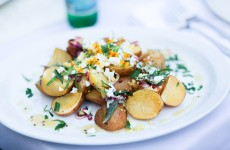 Smoked Potato Salad with Chopped Hard Cooked Farm Egg, Tarragon, and Mustard Sauce