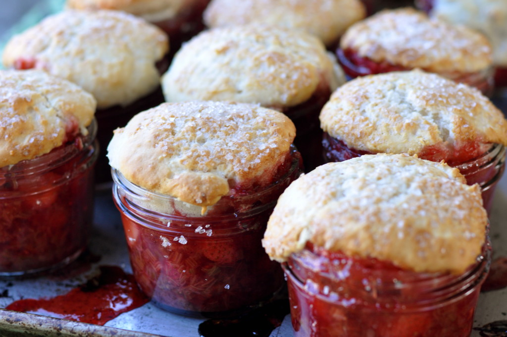 Strawberry, rhubarb, raspberry jam jar cobblers