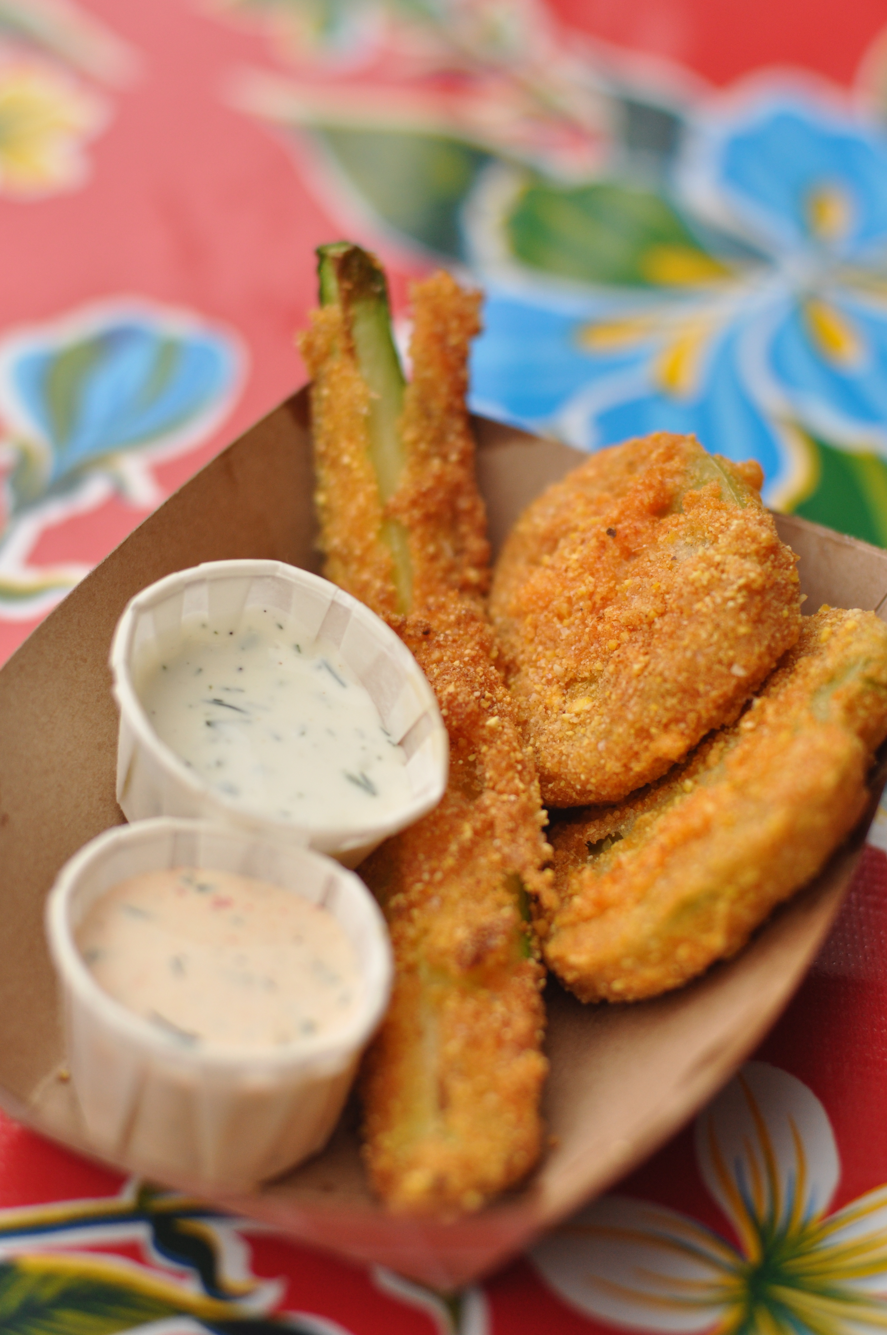 Cornmeal Crusted Fried Green Tomatoes With Homemade Ranch Dressing ...