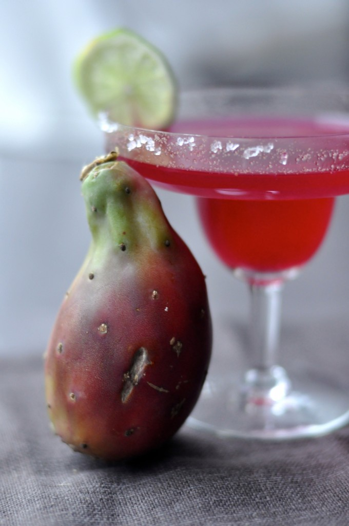 Cactus Pear Margarita with rose & lime...sublime