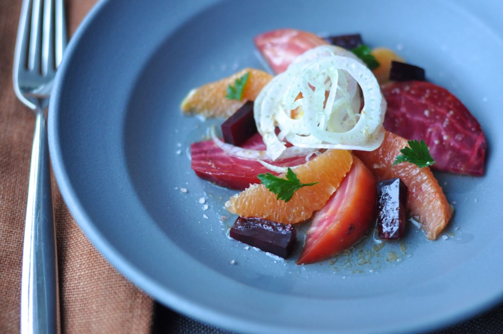 Cara Cara orange salad with roasted beets, fennel, and orange blossom vinaigrette