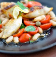 Chorizo & Feta Stuffed Calamari with Marinated bean salad