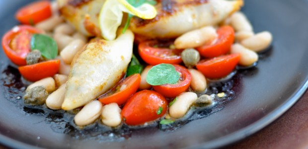 Chorizo & Feta Stuffed Calamari with Tuscan Bean Salad