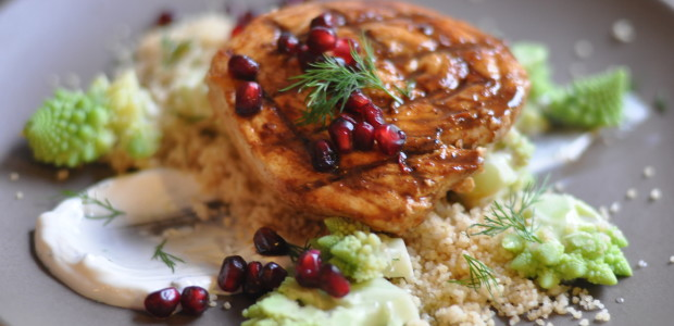 Pomegranate Swordfish with Romanesco Couscous & Labneh Dill Sauce