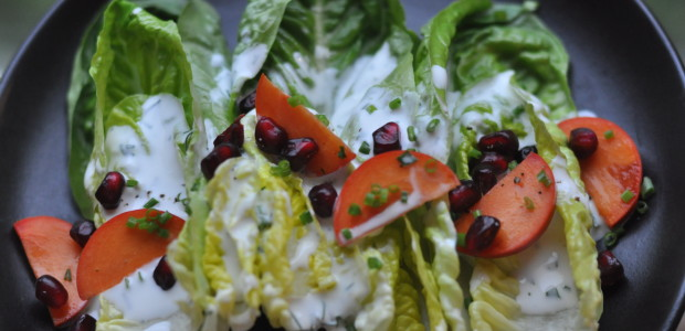 Fuyu Persimmon & Little Gem Lettuces with Labneh Kefir Ranch Dressing
