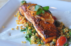 Chermoula Roasted Salmon with Dill-Lebni Sauce