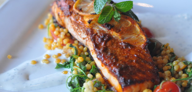 Chermoula Roasted Salmon with Saffron Pearl Cous Cous and Dill-Lebni Sauce