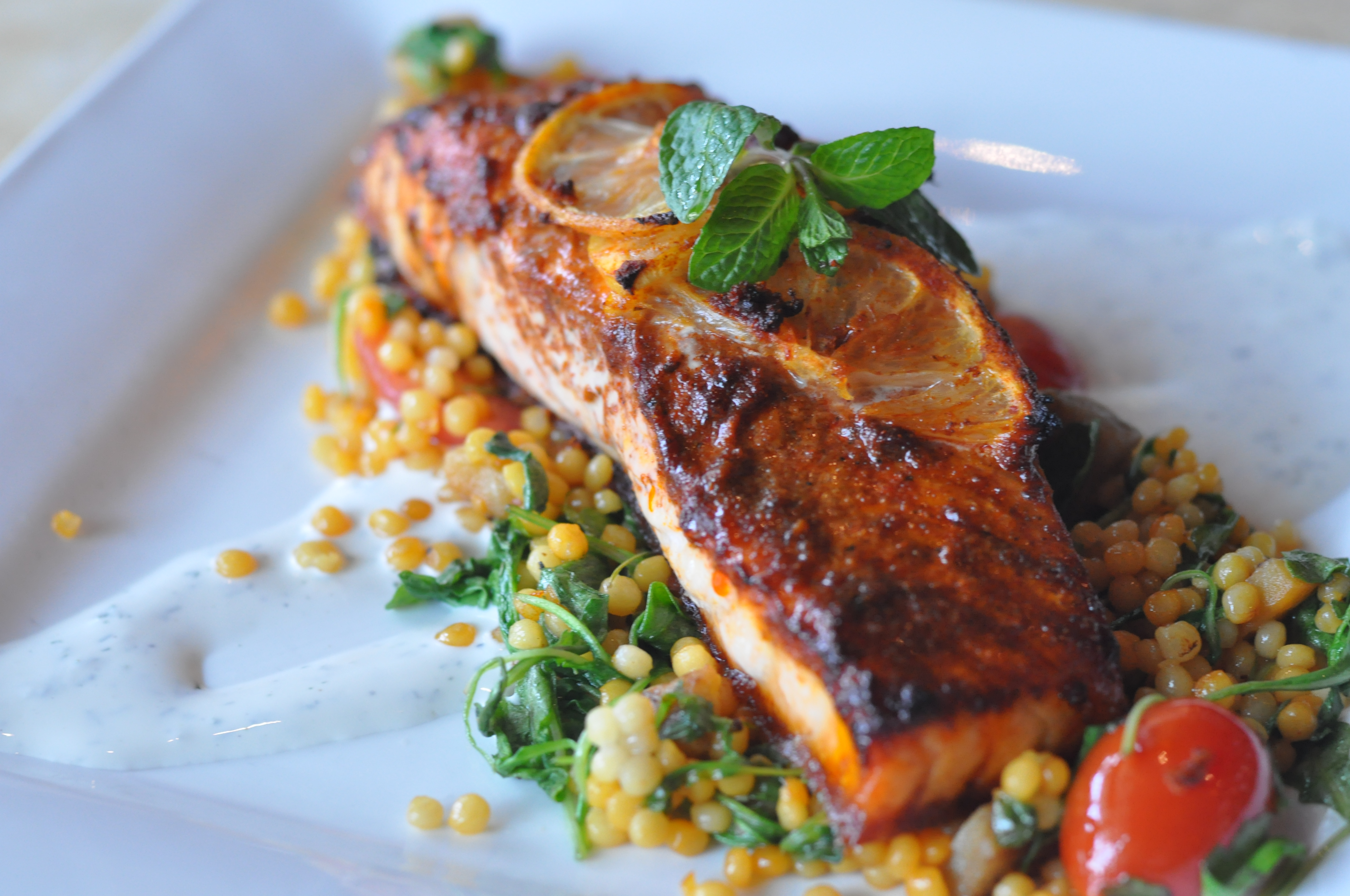 Chermoula Roasted Salmon With Saffron Pearl Cous Cous And ...