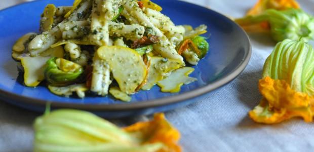 Squash Blossom & Walnut Pesto Pasta Salad