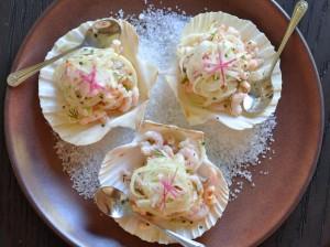 Shrimp Salad on Scallop Shells