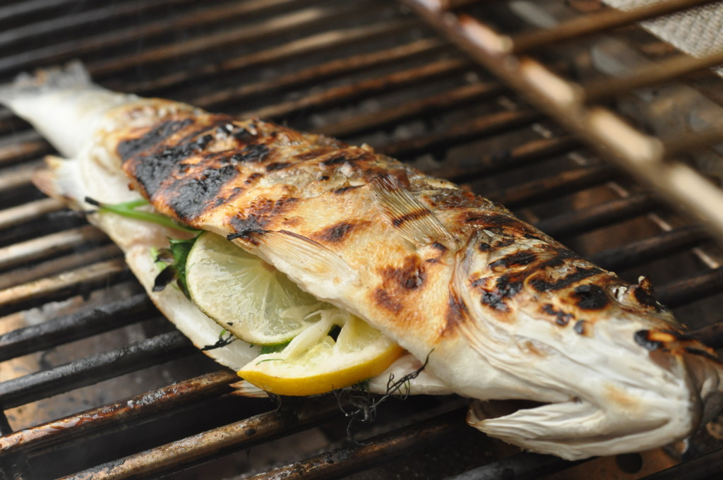 stuffed grilled branzino
